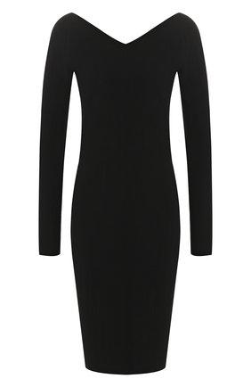 Однотонное платье с V-образным вырезом Vince черное | Фото №1