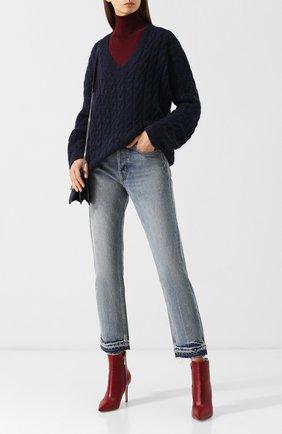 Вязаный пуловер с V-образным вырезом Vince темно-синий | Фото №1