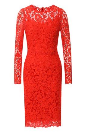 Женское кружевное платье с круглым вырезом DOLCE & GABBANA красного цвета, арт. F6MX2T/HLMHW   Фото 1