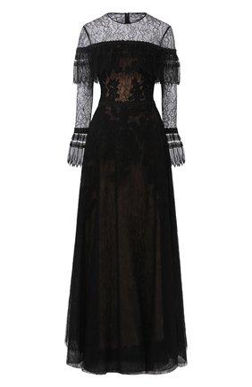 Кружевное платье-макси с оборками | Фото №1