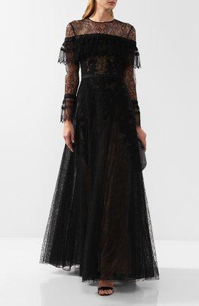 Женское кружевное платье-макси с оборками ZUHAIR MURAD черного цвета, арт. DRP18022/NFLA001 | Фото 2