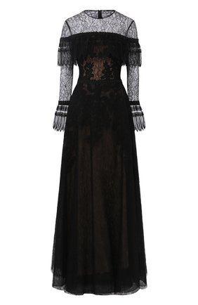 Кружевное платье-макси с оборками Zuhair Murad черное | Фото №1