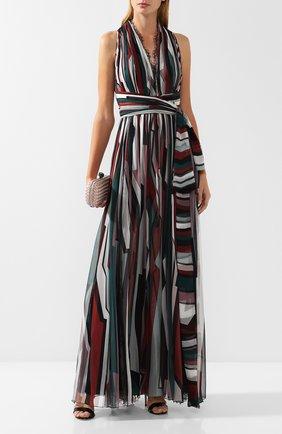 Шелковое платье-макси с принтом Zuhair Murad разноцветное | Фото №1