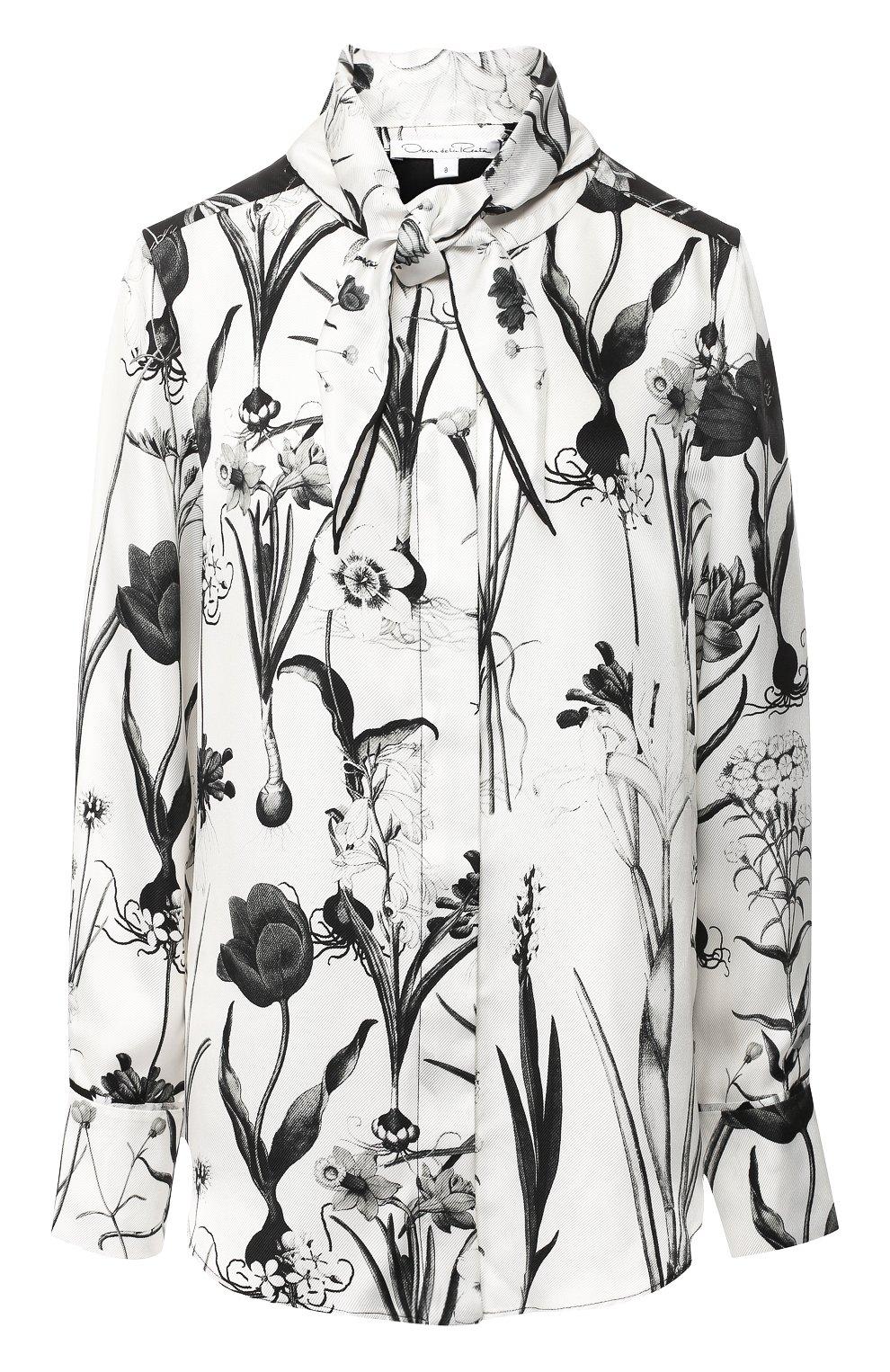 Женская шелковая блуза с принтом и воротником аскот OSCAR DE LA RENTA черно-белого цвета, арт. 18FN720FHT | Фото 1