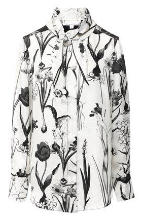 Шелковая блуза с принтом и воротником аскот | Фото №1