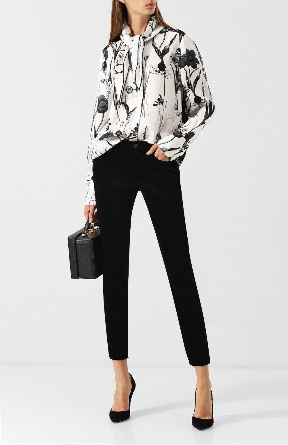 Женская шелковая блуза с принтом и воротником аскот OSCAR DE LA RENTA черно-белого цвета, арт. 18FN720FHT | Фото 2