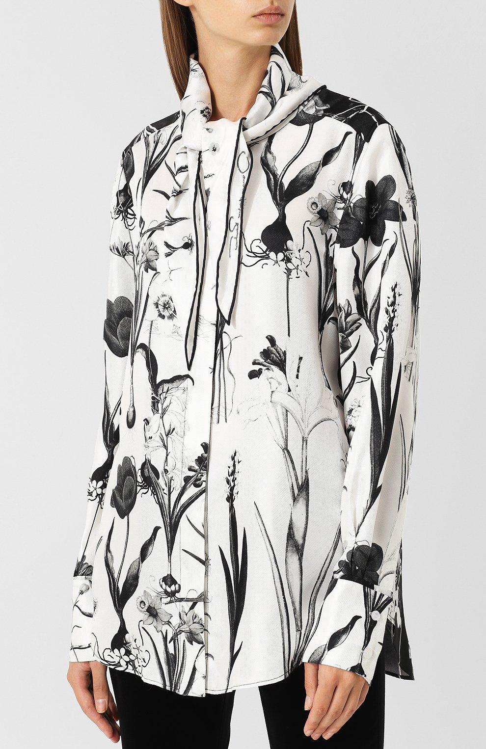 Женская шелковая блуза с принтом и воротником аскот OSCAR DE LA RENTA черно-белого цвета, арт. 18FN720FHT | Фото 3