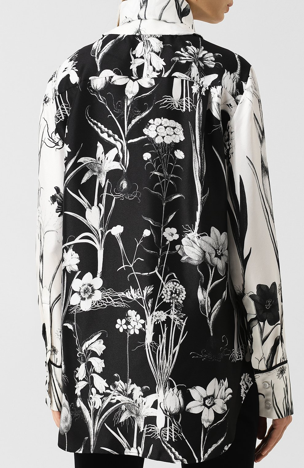 Женская шелковая блуза с принтом и воротником аскот OSCAR DE LA RENTA черно-белого цвета, арт. 18FN720FHT | Фото 4