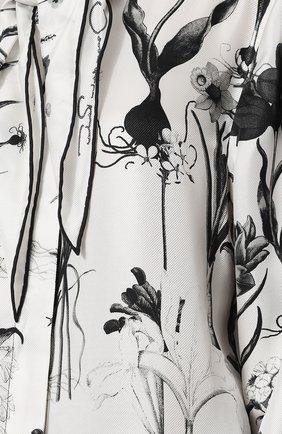 Женская шелковая блуза с принтом и воротником аскот OSCAR DE LA RENTA черно-белого цвета, арт. 18FN720FHT | Фото 5