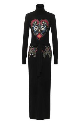 Шерстяное платье с декоративной вышивкой   Фото №1