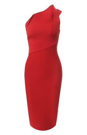 Приталенное платье с открытым плечом Roland Mouret красное   Фото №1
