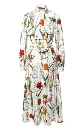 Шелковое платье с воротником аскот и принтом | Фото №1