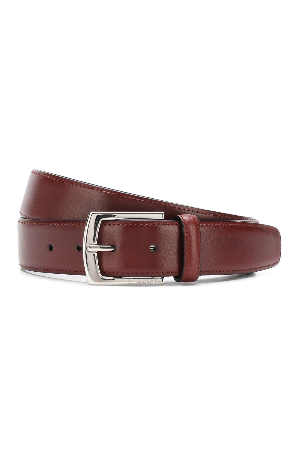 Мужской кожаный ремень с металлической пряжкой A. TESTONI бордового цвета, арт. CD03053/98061ARN8 | Фото 1
