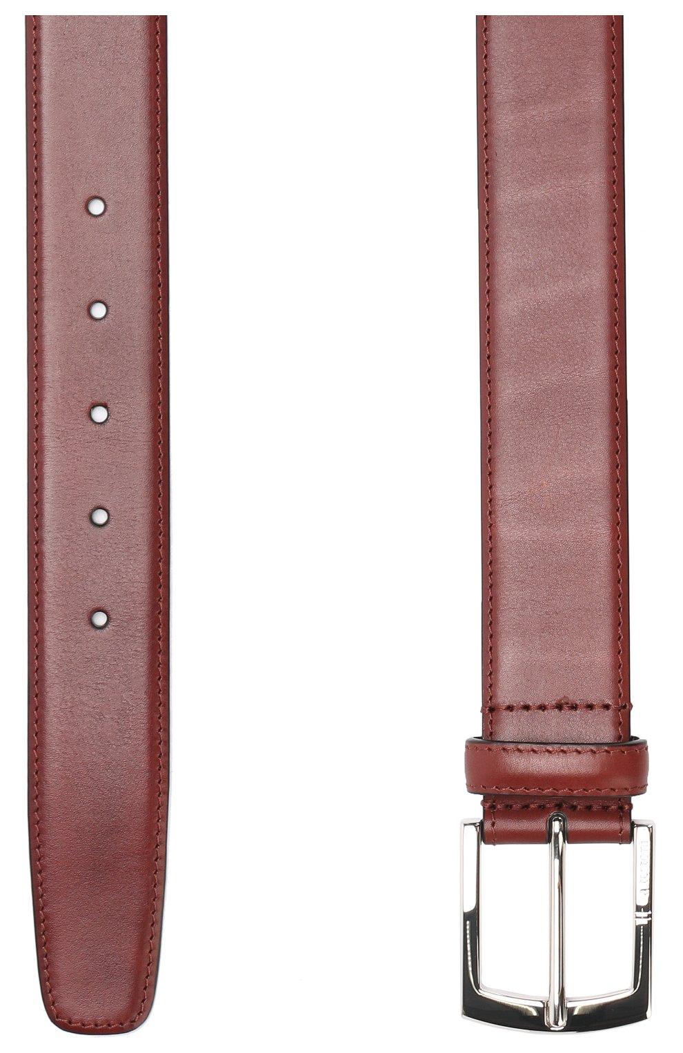 Мужской кожаный ремень с металлической пряжкой A. TESTONI бордового цвета, арт. CD03053/98061ARN8 | Фото 2
