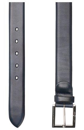 Кожаный ремень с металлической пряжкой A. Testoni синий   Фото №1