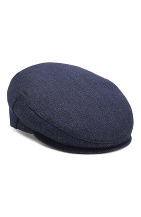 Кепи из смеси шерсти и шелка со льном Luciano Barbera темно-синего цвета | Фото №1