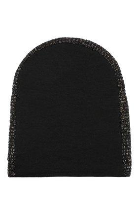 Шерстяная шапка с контрастной отделкой Transit черного цвета | Фото №1