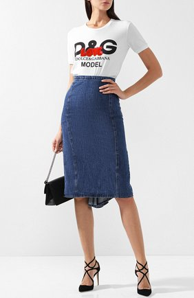 Хлопковая футболка с логотипом бренда Dolce & Gabbana белая   Фото №1