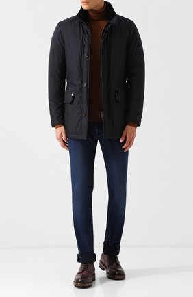 Куртка на молнии с меховой отделкой воротника Moorer темно-синяя   Фото №1