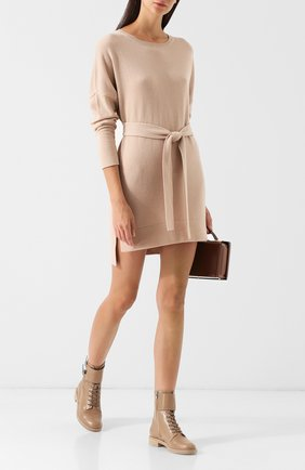 Платье из смеси шерсти и кашемира с поясом Cruciani бежевое | Фото №1
