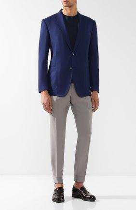 Однобортный пиджак из смеси шерсти и шелка Zilli темно-синий | Фото №1