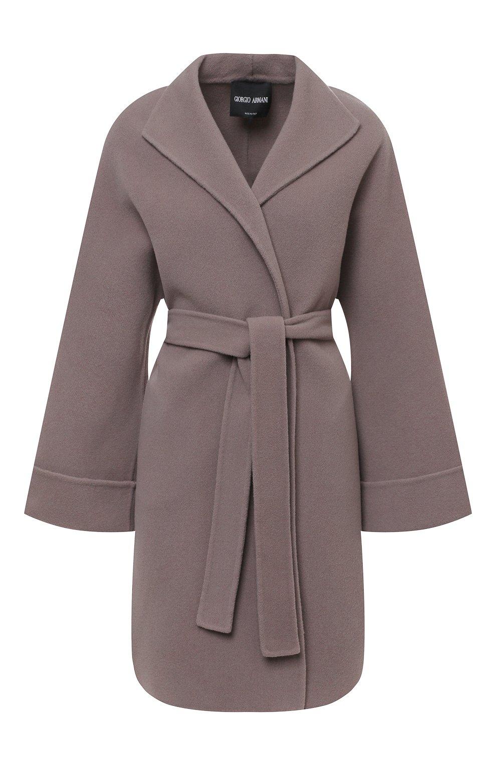 Женское шерстяное пальто с поясом GIORGIO ARMANI серого цвета, арт. 8WH0L002/T008G | Фото 1