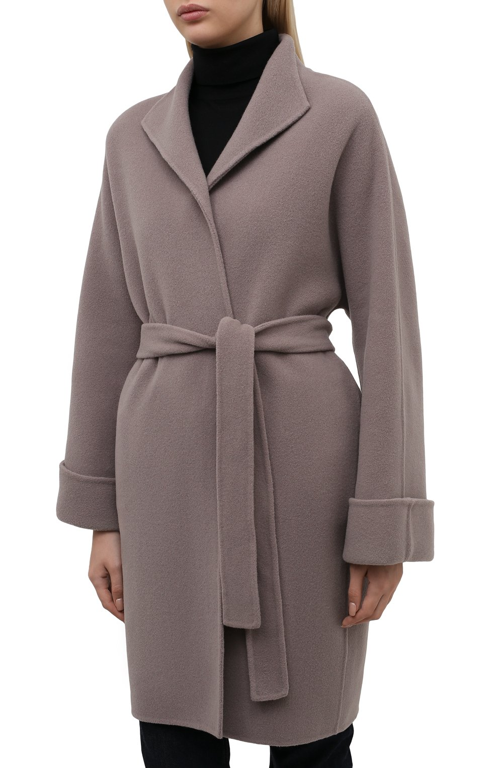 Женское шерстяное пальто с поясом GIORGIO ARMANI серого цвета, арт. 8WH0L002/T008G | Фото 3