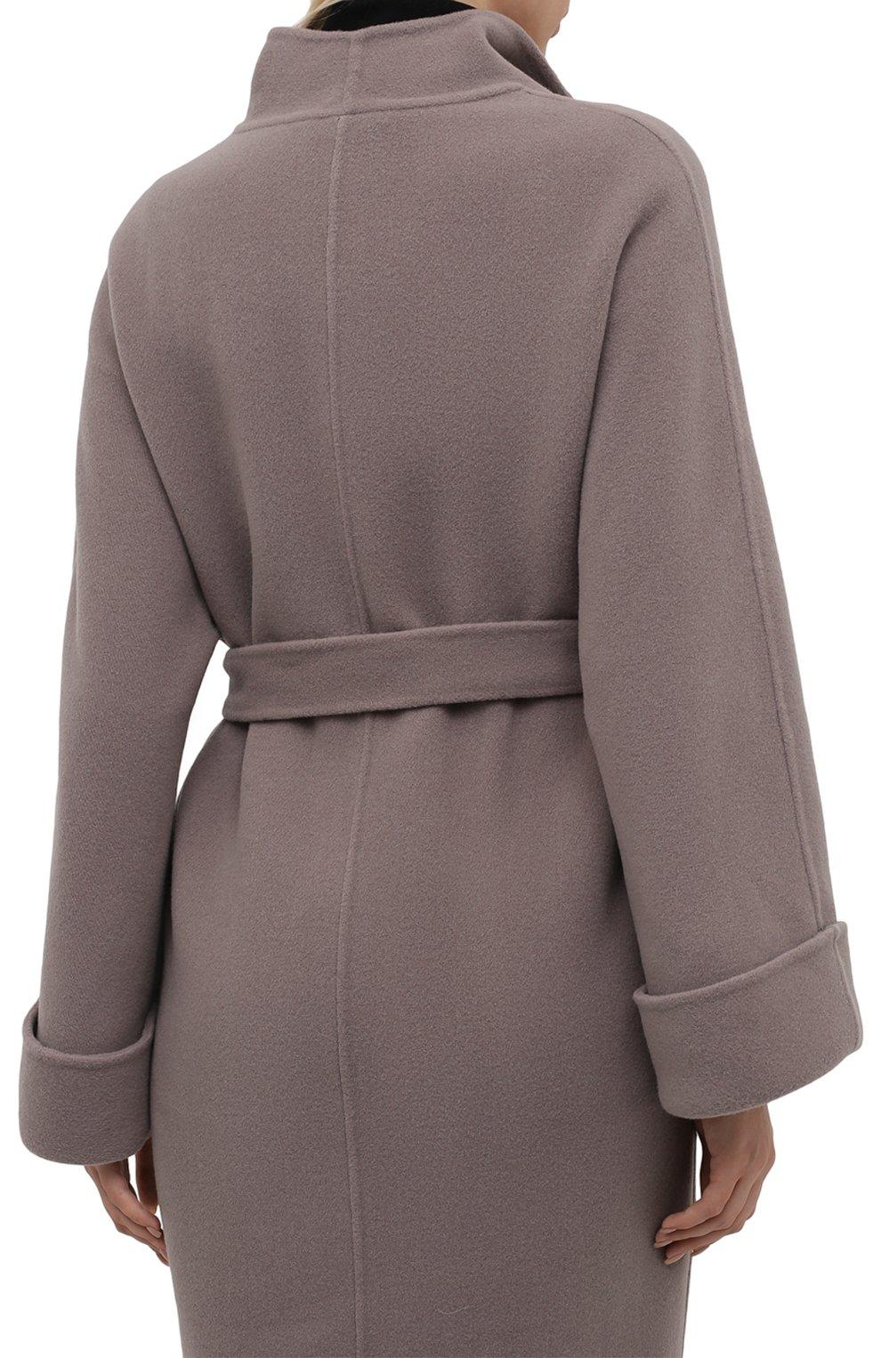 Женское шерстяное пальто с поясом GIORGIO ARMANI серого цвета, арт. 8WH0L002/T008G | Фото 4