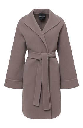 Шерстяное пальто с поясом Giorgio Armani серого цвета | Фото №1