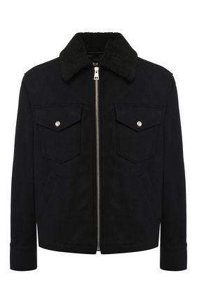 Шерстяная куртка на молнии с отложным воротником Just Cavalli темно-синяя | Фото №1