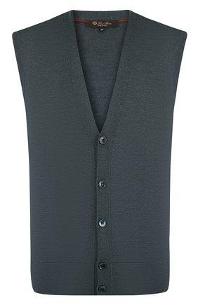 Мужской шерстяной жилет на пуговицах LORO PIANA темно-зеленого цвета, арт. FAI2862 | Фото 1