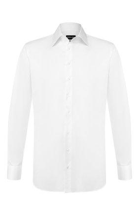 Мужская хлопковая сорочка с воротником кент GIORGIO ARMANI белого цвета, арт. 8WGCCZMR/TZ069   Фото 1