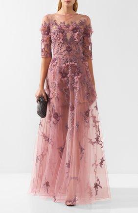 Платье-макси с декоративной отделкой Zuhair Murad светло-розовое | Фото №1