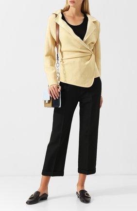 Укороченные брюки со стрелками и отворотами Jacquemus черные   Фото №1