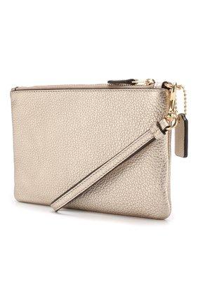 Кожаный кошелек на молнии Coach золотого цвета | Фото №1