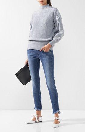 Женские джинсы с потертостями и бахромой PIETRO BRUNELLI синего цвета, арт. JPAS43/DE0001 | Фото 2