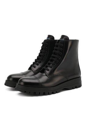 Высокие кожаные ботинки на шнуровке | Фото №1