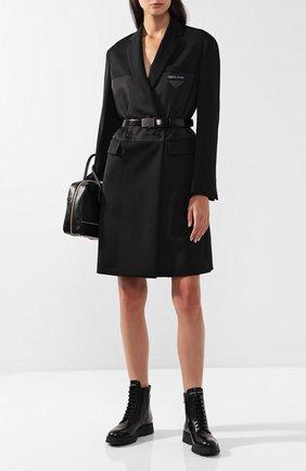 Двубортное пальто с поясом и капюшоном Prada черного цвета | Фото №1