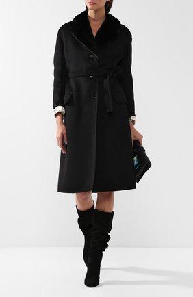Шерстяное пальто с меховым воротником | Фото №2