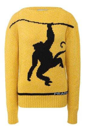 Пуловер из смеси шерсти и кашемира с вышитым принтом Prada синий | Фото №1