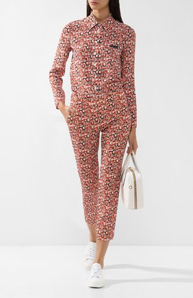 Женская хлопковая блуза прямого кроя с принтом Prada, цвет оранжевый, арт. P491C-1S2B-F0049 в ЦУМ | Фото №1