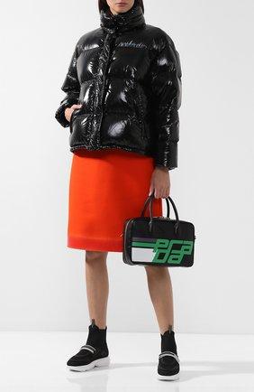 Стеганая куртка с воротником-стойкой Prada черная | Фото №1