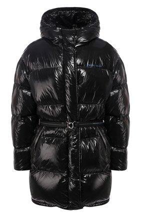Стеганая куртка с поясом и капюшоном | Фото №1