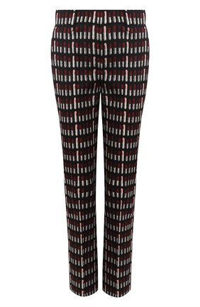 Укороченные хлопковые брюки с принтом Prada черные | Фото №1