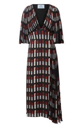 Женское платье-миди с v-образным вырезом и принтом PRADA черного цвета, арт. P36X2-1SE3-F0002   Фото 1