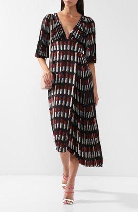 Платье-миди с V-образным вырезом и принтом Prada черное | Фото №1