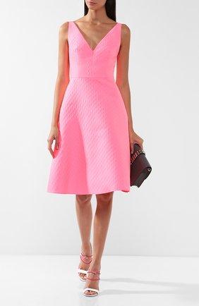 Однотонное платье с V-образным вырезом Prada розовое | Фото №1