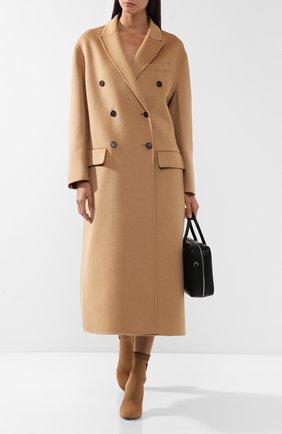 Двубортное шерстяное пальто Prada бежевого цвета | Фото №1