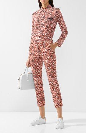 Укороченные хлопковые брюки с принтом Prada оранжевые | Фото №1