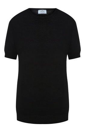 Однотонный шерстяной пуловер с круглым вырезом | Фото №1